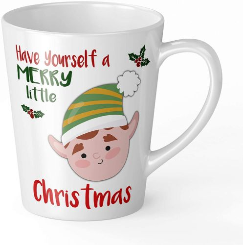 Merry Little Christmas Boy Elf Novelty Gift Latte Mug